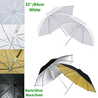 Photography Studio Lighting Reflective Umbrella White Black Gold Silver 2x33""