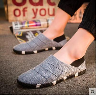 Casual Mens Hemp Breathable Slip On Loafers Shoes Driving Moccasins Size US R918