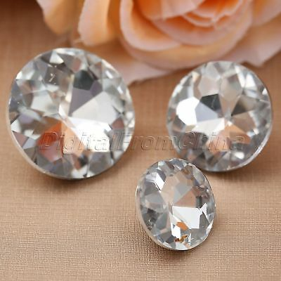 10pcs Diamond Bright Crystal Upholstery Sofa Decor DIY Sewing Buttons 3 Sizes