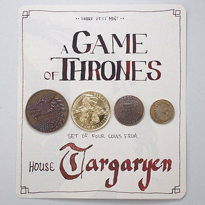 Game of Thrones Targaryen House Coin 4pc Set COLLECTOR AUTHENTIC *NEW* RARE SALE