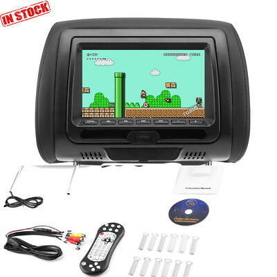 "7"" Black Car Headrest Monitors w/DVD Player/USB/HDMI Speakers +Games"