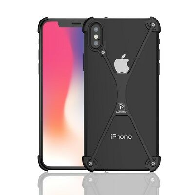 OATSBASF X Shaped Metal Bumper Case Cover for iPhone X 5.8 Inch - Black / Silver