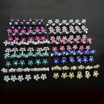 12Pcs Girls Sweet Rhinestone Crystal Flower Mini Hair Claw Clips Clamps