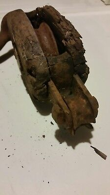 Vintage Wood Block and Tackle Pulley Wrought Iron Hook Farm Forge Antique