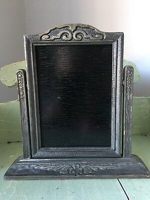 Vintage Art Deco Carved Silver Wood Tilt Swing Pedestal Frame