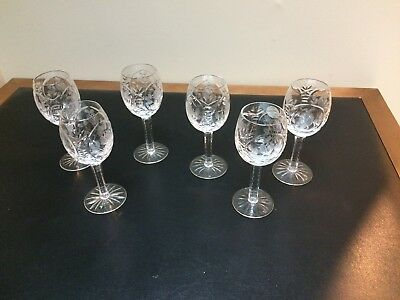 Set of 6 Cut Lead Crystal 4 oz Aperif/Sherry/WIne Glasses Rose Pattern
