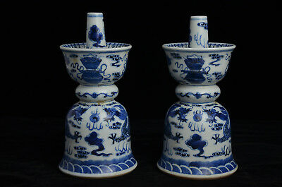 Pair Beautiful Chinese Blue and white porcelain Candle Holders