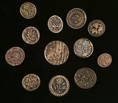 Lovely Group Of 12 Antique Metal Victorian Picture Buttons