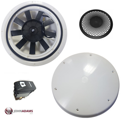 Low Profile Motorised Vent Fan 12V Van Roof Bus Caravan Dog Horse Pet Grill