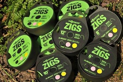 Korda Ready Tied Zigs - Barbed or Barbless - 6ft, 8ft, 10ft or 12ft Versions