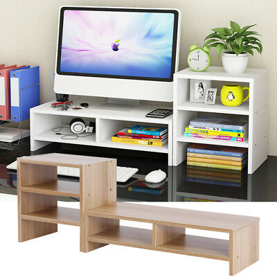 Computer Monitor Riser Desk Table LED TV Stand Shelf Desktop Laptop Save Space