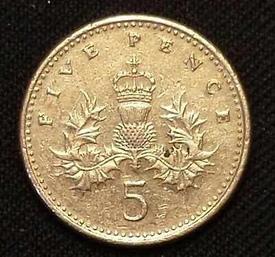 1991 UK 5 Pence Coin  #1036