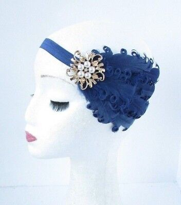 Navy Blue Gold Feather Headband 1920s Flapper Fascinator Headpiece Vintage 4832