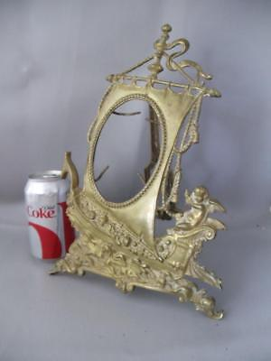 Antique Victorian Solid Brass Sea Sailing Ship & Cherubs Picture Table Frame