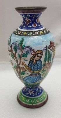 Antique Enamel On Brass Persian Vase Hand Painted Islamic Rare