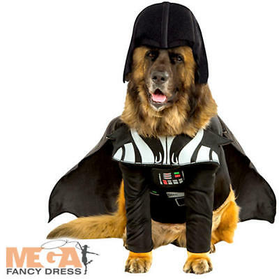Darth Vader Dog Fancy Dress Star Wars Scifi Villain Animal Halloween Pet Costume