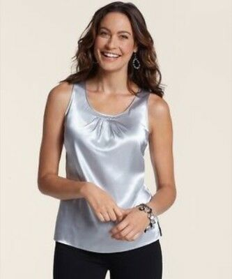 Silver Womens Tank Size 1 Chico's Silk Top Retail Price $49 NWT