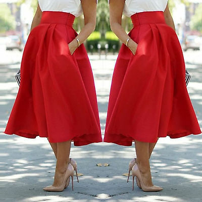 Ladies Stretch High Waist Plain Flared Pleated Swing  A-line Midi Skirt Dress