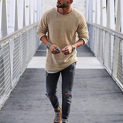 Warm Mens Fashion Casual Jumpers Knitwear Sweater Fleece Pullover Tops