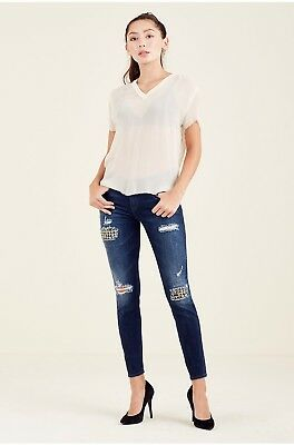 $250🔥NEW TRUE RELIGION HALLE SUPER SKINNY WOMENS JEANS RIPPED METAL Cotton 27