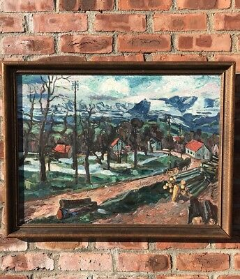 Swiss Impressionist Landscape Painting By Karl Hosch. Signed. Circa 1940's