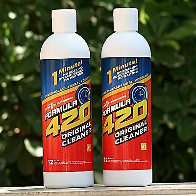 2 Pack Formula 420 Cleaner 12 oz Pipe Pyrex Metal Glass Bottle *NEW DESIGN*