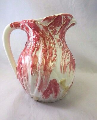 Valli Ceramiche Italy Hand Painted Red Cabbage Leaves Pitcher