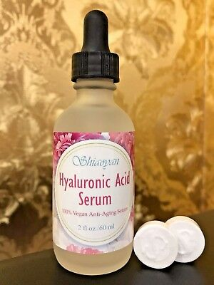 100% Vegan HYALURONIC ACID SERUM Anti-Aging Plumps 2oz w/ 2 Free masks