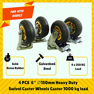 "4X 6"" 150mm Heavy Duty Swivel Caster Wheels Castor Load 1000KG Two With Brakes"