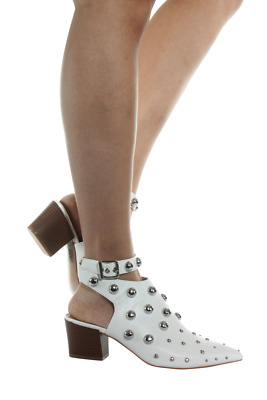 Studded Bootie Women Square-01-00 Qupid White Pu