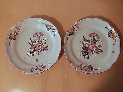 Pair plate earthenware centre France 18TH 18 century ceramic french