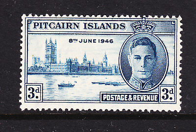 PITCAIRN ISLANDS  1946 VICTORY  3d BLUE WITH VARIETY FLAGSTAFF FLAW SG 10a