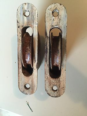 Lot Of 8 Old Metal Window Sash Rope Pulley Pullies Pulleys hardware Steampunk