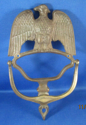 Solid Brass Door Knocker With Bald Eagle Relief - 8 Inches