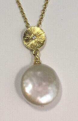 Button Shape Natural Fresh Water Pearl & Diamond Necklace in 18K Yellow Gold
