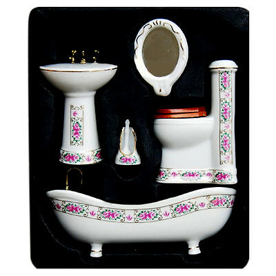 5x 1:12 Ceramic Bathroom Set Dollhouse Miniature Furniture Bathtub Accessory*