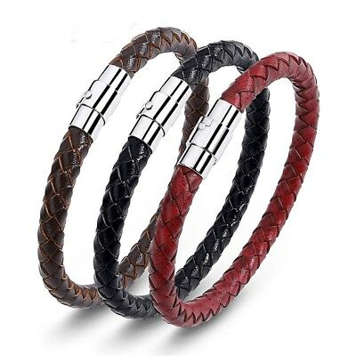 Braided Leather Steel Magnetic Clasp Bracelet Handmade Unisex Women Men
