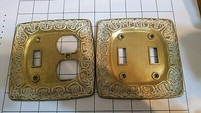 2 Vintage Kirsch electrical outlet plates and light switch plates made of brass