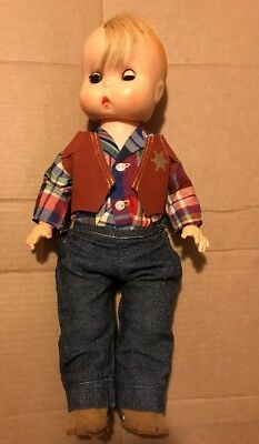 """14"""" Jolly Toy Plastic & Vinyl Doll 1960 SMALL STUFF Cowboy With Spurs"""