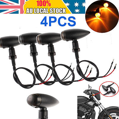 4pcs Motorcycle Bullet Turn Signal Indicator Light Lamp For Harley Chopper Cafe
