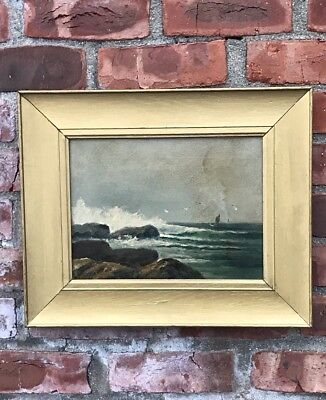 Maine Brushian Artist D A Fisher New England Coastal Seascaoe Painting. Signed