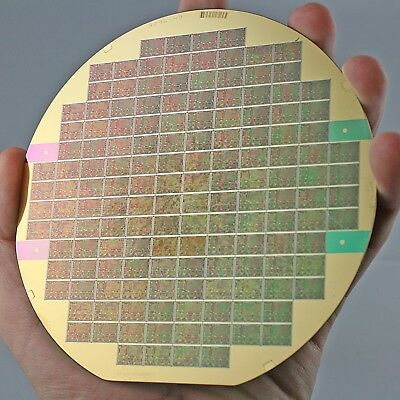 """5"""" Silicon Wafer AT&T Bell Labs with gold plated silicon interposer"""