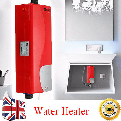 3000W Mini Tankless Electric Shower Instant Hot Water Heater UK Bathroom Kitchen