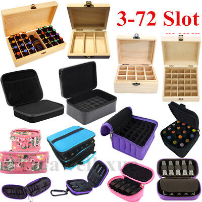 3-72 Slots Oil Aroma Storage Wooden Box Bag Essential Container Organizer