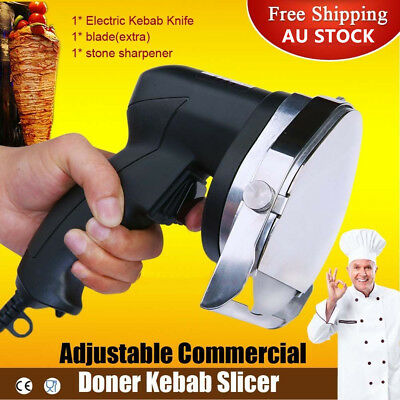 Electric Auto-rotation Doner Kebab Knife Shawarma Fleshing Meat Slicer / Cutter