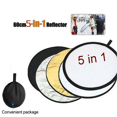 Photography 5 in1 Light Collapsible Portable Photo Reflector 60cm Round Diffuser