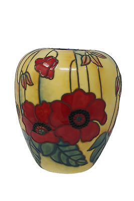 """Old Tupton Ware Yellow Poppy Vase 6"""" 1687 Hand Made Painted Yellow & Red Pottery"""