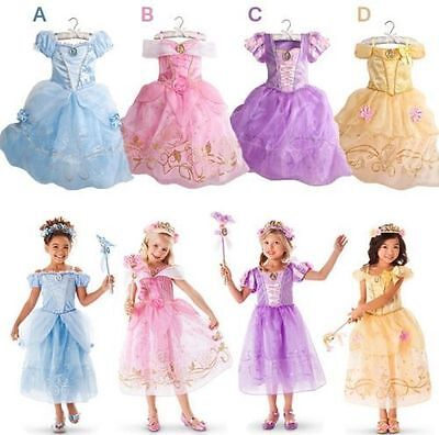 Girl's Cosplay Aurora Rapunzel Belle Kid's Princess Party Fancy Costume Dresses+