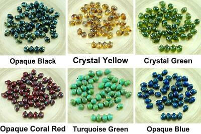 40pcs Picasso Czech Glass Small Teardrop Beads 7mm x 5mm
