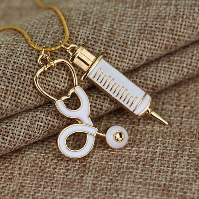 Alloy Medical Stethoscope Charm Syringe Pendant Necklace Chain Women Jewelry LCY